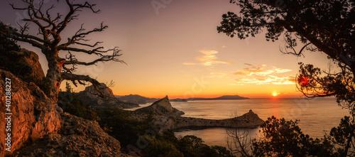 Obraz Dawn near the village Novyi Svit (New light). City district Sudak, the Republic of Crimea. - fototapety do salonu
