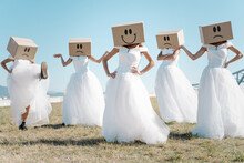 Full Body Of Women Wearing Bridal Dresses And Boxes With Happy And Sad Smileys On Head Standing In Field