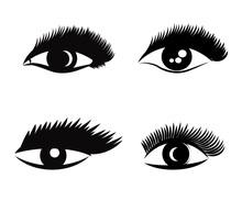 Beautiful Eyes With Long Eyelashes On A White Background. Vector Illustration.