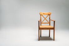 Classical Wooden Chair Isolated Against Gray Background