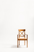 Classical Wooden Chair Isolated Against White Background
