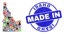 Engineering Idaho State Map Mosaic And MADE IN Grunge Stamp. Idaho State Map Mosaic Created With Spanners,wheel, Tools,components,transports, Electric Strikes,details.