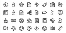 Set Of 32 Basic Ui Elements Thin Outline Icons Such As Run, Correct, Right Arrow, External Storage, Call, Warning, Monitor, Tax, Developer