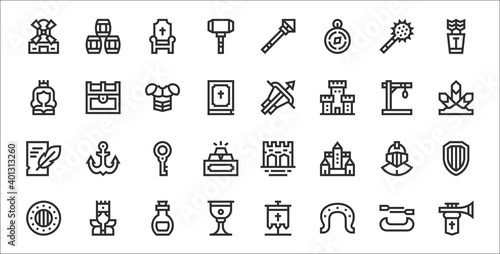 set of 32 medieval items thin outline icons such as trumpet, horseshoe, goblet, Fotobehang