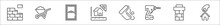 Set Of 8 Build A House Thin Outline Icons Such As Brick Wall, Wheelbarrow, Window, House Sketch, Paint Roller, Driller, Chimney, Moving