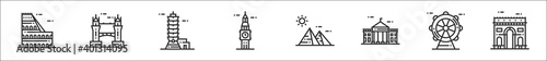set of 8 world landmarks thin outline icons such as colosseum, tower bridge, taipei, big ben, pyramids, white house, london eye, arc de triomphe - fototapety na wymiar