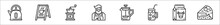Set Of 8 Coffe Shop Thin Outline Icons Such As Kettle, , Coffee Grinder, Barista, Coffee Maker, Cold Coffee, Milk, Cake