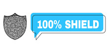 Speech 100% Shield Blue Cloud Frame And Wire Frame Shield. Frame And Colored Area Are Misplaced To 100% Shield Text, Which Is Located Inside Blue Colored Speech Balloon.