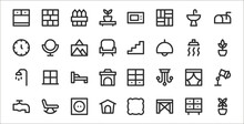 Set Of 32 Home Decoration Thin Outline Icons Such As Flower Pot, Table, Pet House, Tap, Curtain, Bed, Botanic, Staircase, Hand Mirror