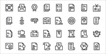 Set Of 32 Legal Document Thin Outline Icons Such As Loan, News, Agreement, Diploma, Folder, College, Receipt, Permission, Stamp