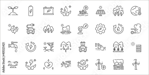 Obraz na plátně set of 32 save the world thin outline icons such as windmill, windmill, sewer, d