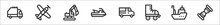 Set Of 8 Vehicles And Transport Thin Outline Icons Such As Garbage Truck, Aeroplane, Digger, Jetski, Wagon, Roller Skate, Boat, Hoverboard