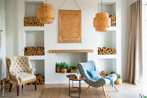 Scandinavian-style interior with fireplace, niches in wall where wood is stored Wallpaper Mural