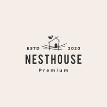 Nest House Hipster Vintage Logo Vector Icon Illustration