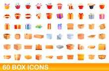 60 Box Icons Set. Cartoon Illustration Of 60 Box Icons Vector Set Isolated On White Background
