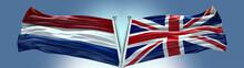 Double Flag United Kingdom UK Vs Netherlands Flag Waving Flag With Texture Background