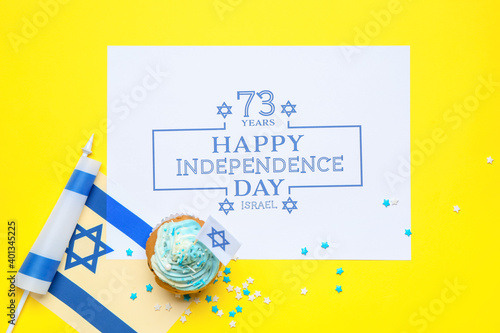 Fototapeta Composition for Israel Independence Day on color background