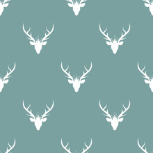 Seamless Pattern With White Silhouette Of Deer Head With Royal Crown.