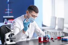 Scientist Developing Covid-19 Vaccine In Laboratory