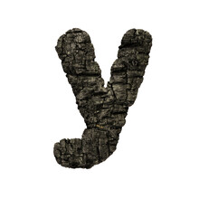 Burned Wood Letter Y - Small 3d Charcoal Font - Suitable For Nature, Disaster Or Fire Related Subjects