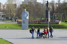 Citizens In The Spring On A Walk On The Alley Of Cosmonauts In Moscow