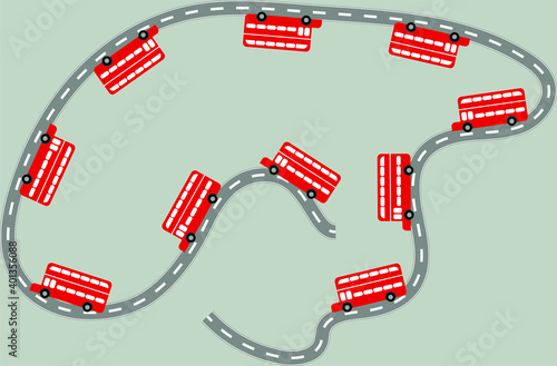 Obraz na plátně vector curve road with white markings and red buses traveling on it