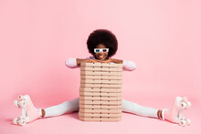 Portrait Of Nice Cheerful Wavy-haired Girl Wear Retro Rollers Holding Pile Stack Pie Boxes Stay Home Quarantine Isolated On Pink Color Background