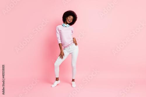 Full length body size view of pretty slim cheerful wavy-haired girl dancing havi Fototapete