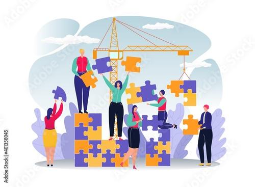 Fotografie, Obraz Business puzzle for people success teamwork concept, vector illustration