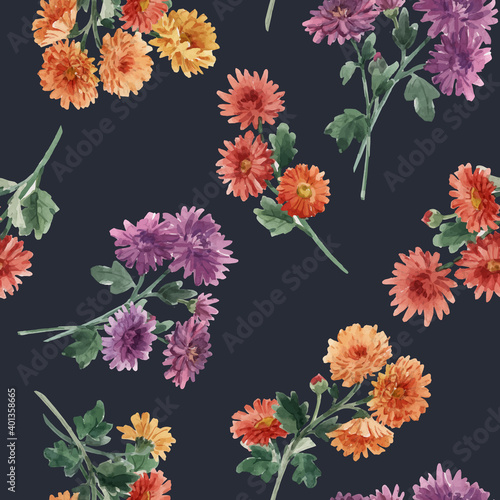 Fotografering Beautiful seamless floral pattern with watercolor gentle blooming chrysanthemum flowers