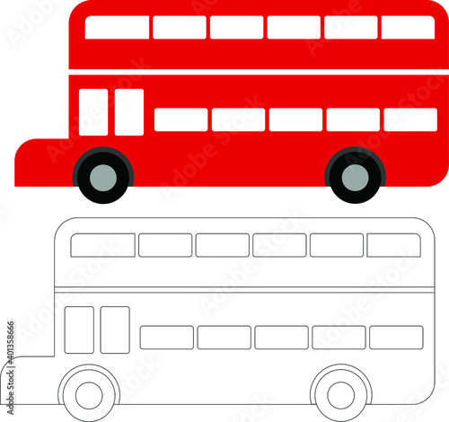 Fototapeta vector red double decker bus and outline   the bus