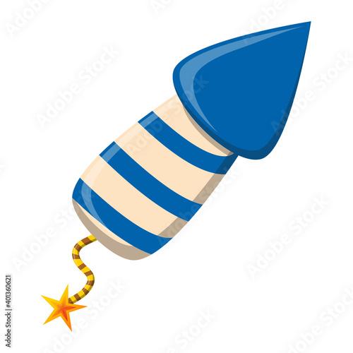 Fototapeta Rocket firework cartoon icon