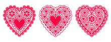 Set Of Lace Hearts From Paper For Design Element Wedding Or Valentine's Day Cards, Invitations, Etc. Vector Flat Design.