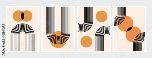 Fotografía Mid century abstract contemporary aesthetic design  set with geometric balance shapes, modern minimalist artprint
