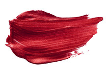 Vector Red Metallic Paint Texture Isolated On White - Acrylic Brush Stroke Element For Your Design