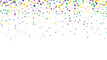 Seamless Horizontal Pattern Beautiful Geometric Yellow, Green, Purple Confetti On White Background. Venetian Carnival Mardi Gras Party. Great For Horizontal Posters, Header For Website. Vector