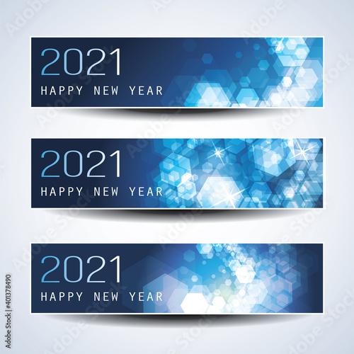 Obraz Set of Horizontal Christmas, New Year Headers or Banners - 2021 - fototapety do salonu