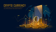 Bitcoin Cryptocurrency With Pile Of Coins Come Out From Smartphone, Vector Illustrator