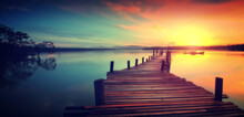Wooden Jetty At Sunset - Dreamy Looks  Beauty, Jetty, Landscape, Nature, Photo Hd Pic