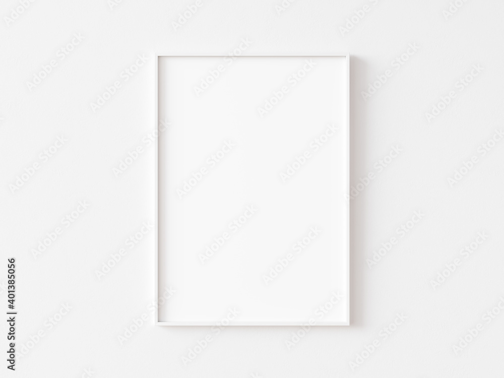 Fototapeta Single blank vertically oriented rectangular picture frame with thin white border hanging on white wall. 3D illustration.