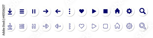 Fototapeta Vector icons set. UI icons. Icons with vector shadow. For mobile, web, social media, business. Vector illustration EPS 10 obraz