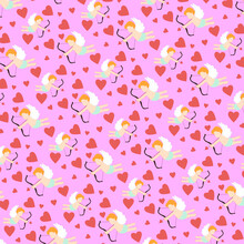 The Seamless Pattern  With Cute Cupid And Red Heart On Pink Background.