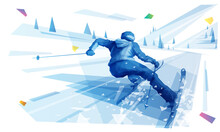 Female Skier Riding The Slope At The Hight Speed In Mountain Landscape