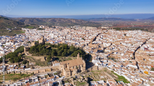 Obraz na plátně Bird view of Antequera, a white city in Andalusia, south Spain seen from above w