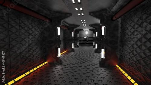 Fotografie, Tablou Sci-Fi Metal corridor background illuminated with neon lights 3d render