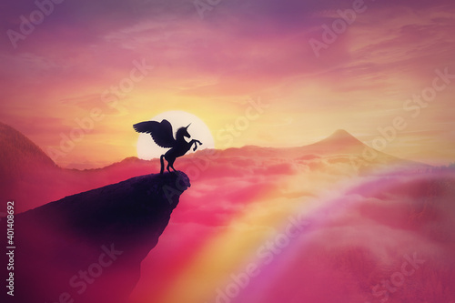Obraz na plátně Wild pegasus silhouette on a cliff edge against a pink paradise sunset
