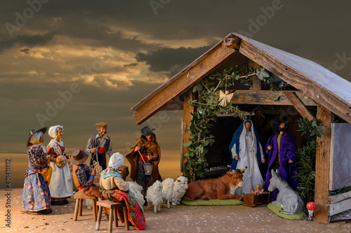 Christmas Crib in Alsace, France - An ancient tradition for which each family installs a table with a crib near the fireplace Wallpaper Mural