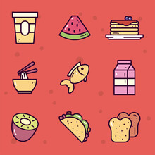 Food Line And Fill Style Symbol Set Vector Design