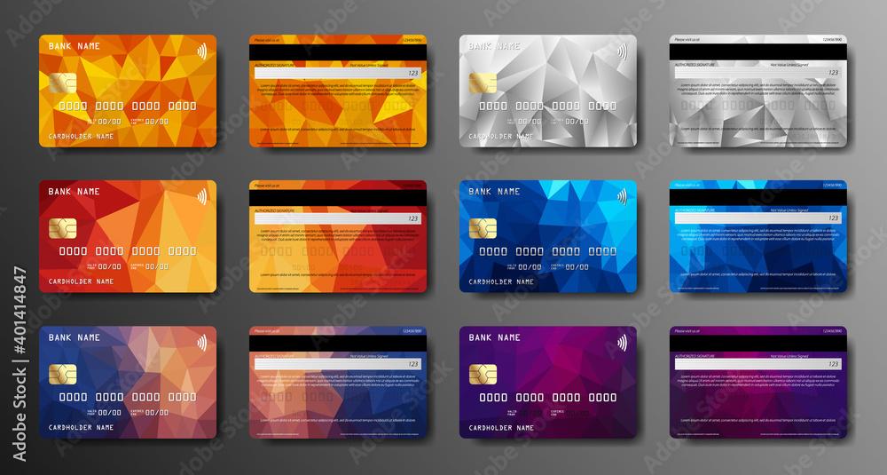 Fototapeta Credit card set. Debit card front and back side view. Money, payment symbol.