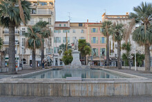 Statue Of Lord Brougham And Water Pond In Cannes France